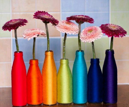 DIY project vases from glass bottles